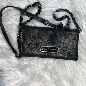 Betsey Johnson cross body bag black & silver